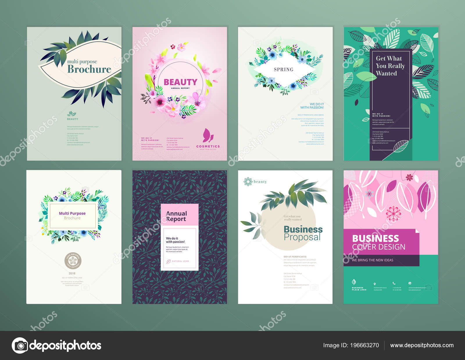 set natural product brochure annual report flyer design templates