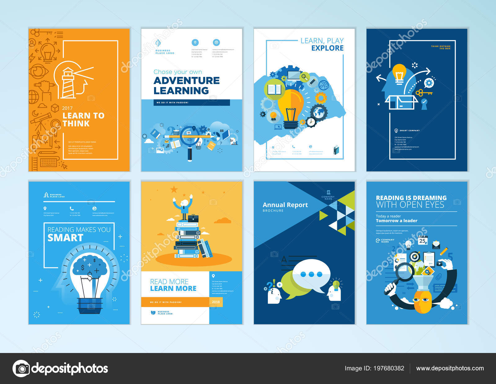 Set Brochure Design Templates Subject Education School Online
