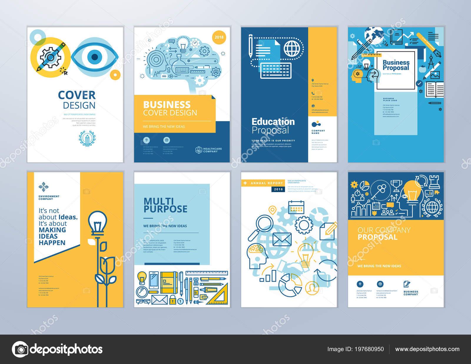 Conjunto Plantillas Diseño Folleto Sobre Tema Educación Aprendizaje ...