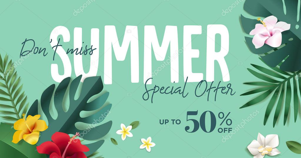 Summer sale vector illustration for mobile and social media banner, poster, shopping ads, marketing material. Lettering concept with summer elements for product promotion, beauty and cosmetics, natural products, fashion.