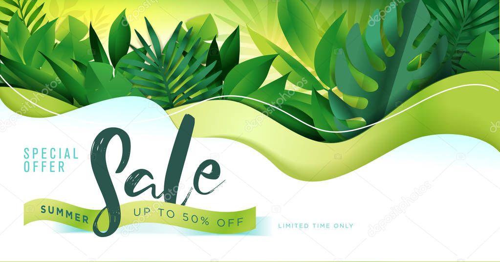 Summer sale banner design template. Vector illustration concept for internet marketing, poster, shopping ads, social media, web and graphic design.