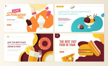 Set of web page design templates for organic fast food,  ice cream, pastry shop, confectionery, sweets, restaurant, food and drink. Vector illustration concepts for website and mobile website development.