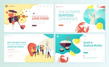 Set of web page design templates for restaurant, seafood, sushi, food and drink.Vector illustration concepts for website and mobile website development.