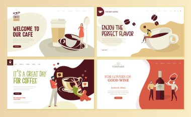 Set of web page design templates for organic coffee, cafe bar,  coffee shop, restaurant, wine, vineyard, wine shop, e-commerce. Vector illustration concepts for website and mobile website development.
