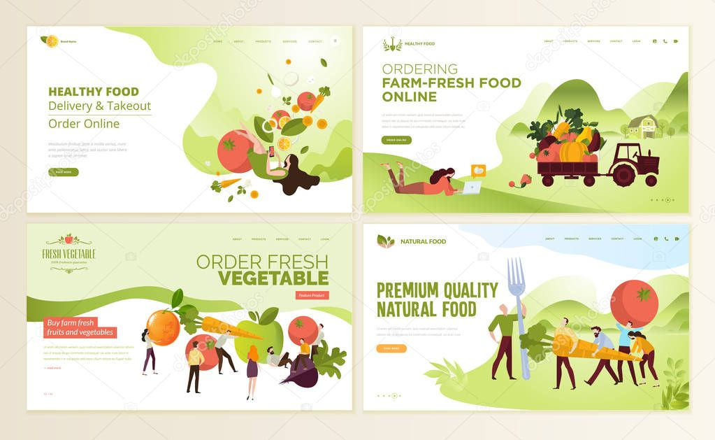 Set of web page design templates for organic farm fresh food, online food ordering, organic vegetable, e-commerce. Vector illustration concepts for website and mobile website development.
