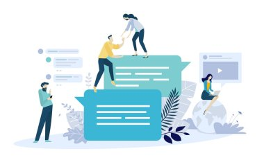 Vector illustration concept of online communication, social media, networking, community group. Creative flat design for web banner, marketing material, business presentation, online advertising.