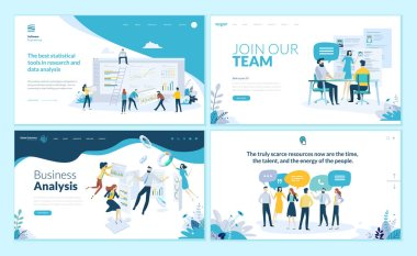Set of web page design templates for business app, data analysis, career, communication, teamwork. Modern vector illustration concepts for website and mobile website development.