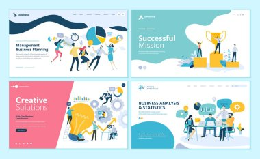 Set of web page design templates for teamwork, project management, business workflow, customer relationship management. Modern vector illustration concepts for website and mobile website development.