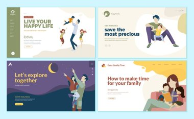 Set of web page design templates for family time, kids insurance, happy family. Modern vector illustration concepts for website and mobile website development.
