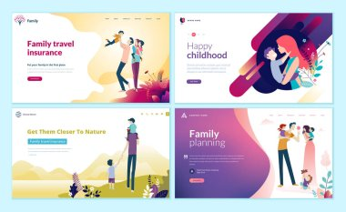 Set of web page design templates for family planning, travel insurance, nature and healthy life. Modern vector illustration concepts for website and mobile website development.