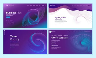 Set of web page design templates with abstract background for business plan, analysis and statistics, team building, investment. Modern vector illustration concepts for website and mobile website development.