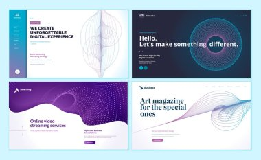 Set of web page design templates with abstract background for social marketing, video streaming, online art magazine. Modern vector illustration concepts for website and mobile website development.
