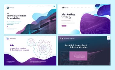 Set of web page design templates with abstract background for marketing, seo, website design. Modern vector illustration concepts for website and mobile website development.