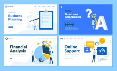 Set of flat design web page templates of business planning, financial analysis, online support, questions and answers. Modern vector illustration concepts for website and mobile website development.