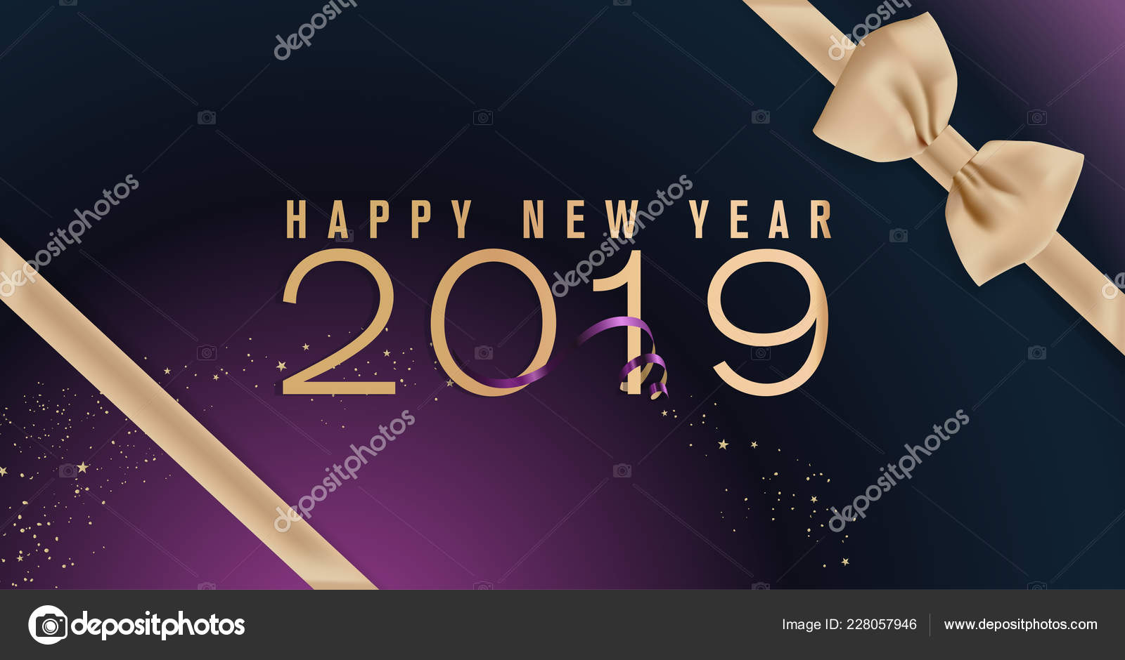 Happy New Year 2019 Vector Illustration Concept Background