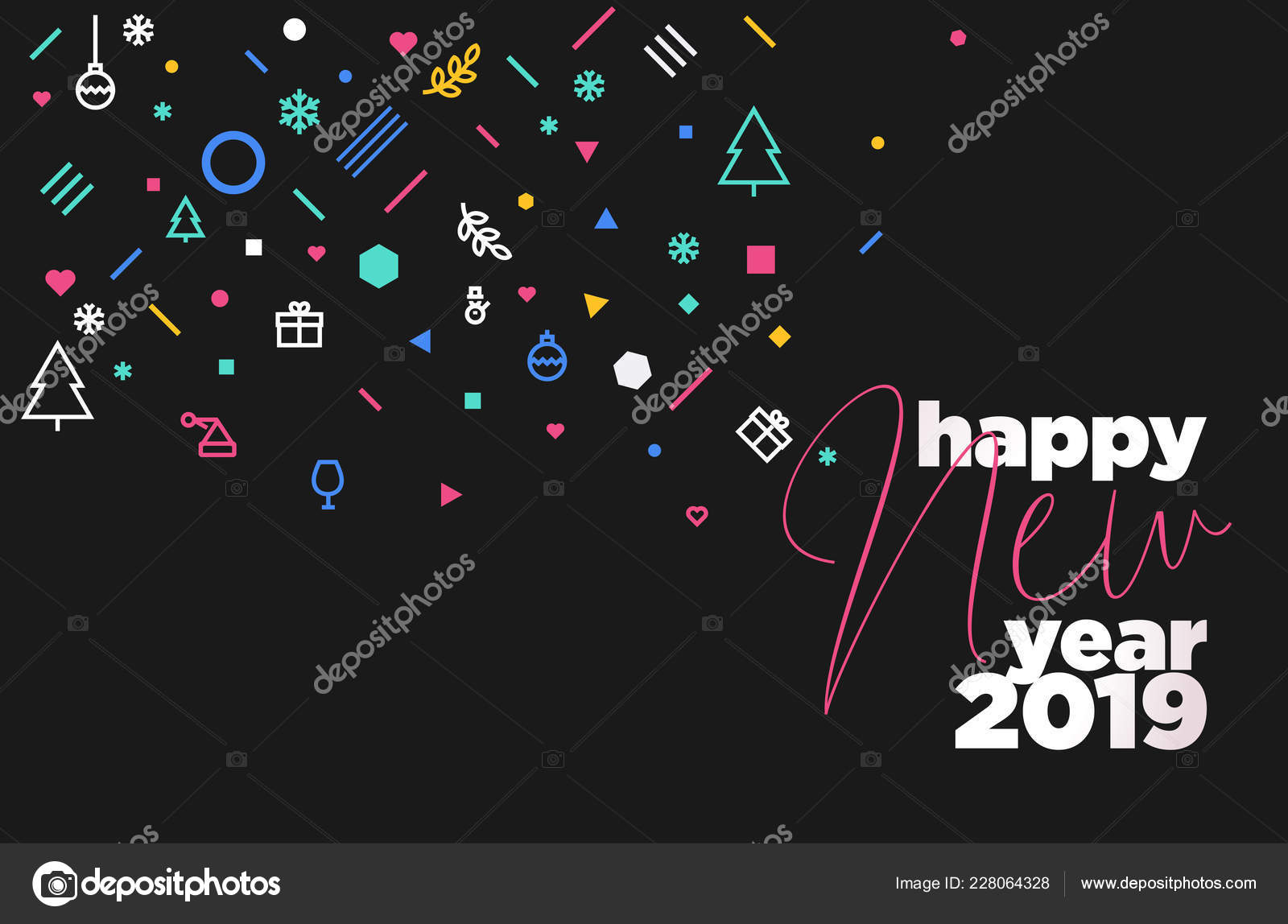 happy new year 2019 vector illustration concept for background greeting card website and mobile website banner party invitation card social media