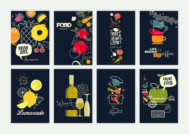 Set of restaurant menu, brochure, flyer design templates. Vector illustrations for food and drink marketing material, natural products presentation, cover design, wine list and cocktail menu templates, party invitations.