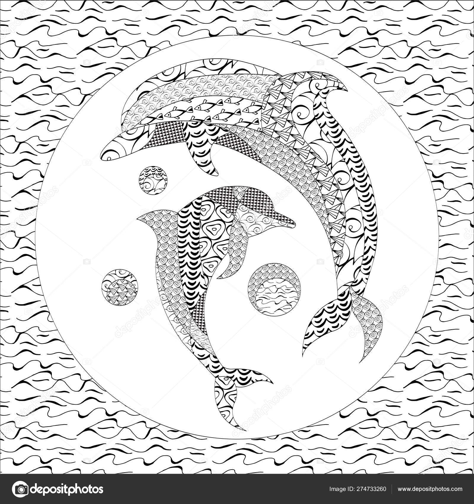 Coloring Pages Dolphin Zentangle Illustration Kids Adults ...