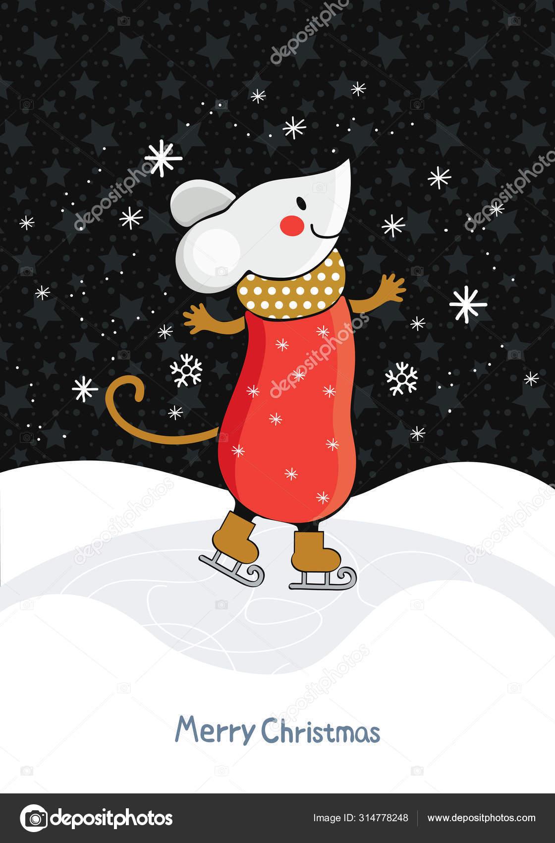 Kerst Of Nieuwjaarskaart In Vector Cartoon Muis Schaatsen Op Ijs Tussen De Sneeuw Drijft Op Een Achtergrond Van De Sterrenhemel Leuke Muizen Die Bezig Zijn Met Wintersport Kunstschaatsen Stockvector C Catrin1309 314778248