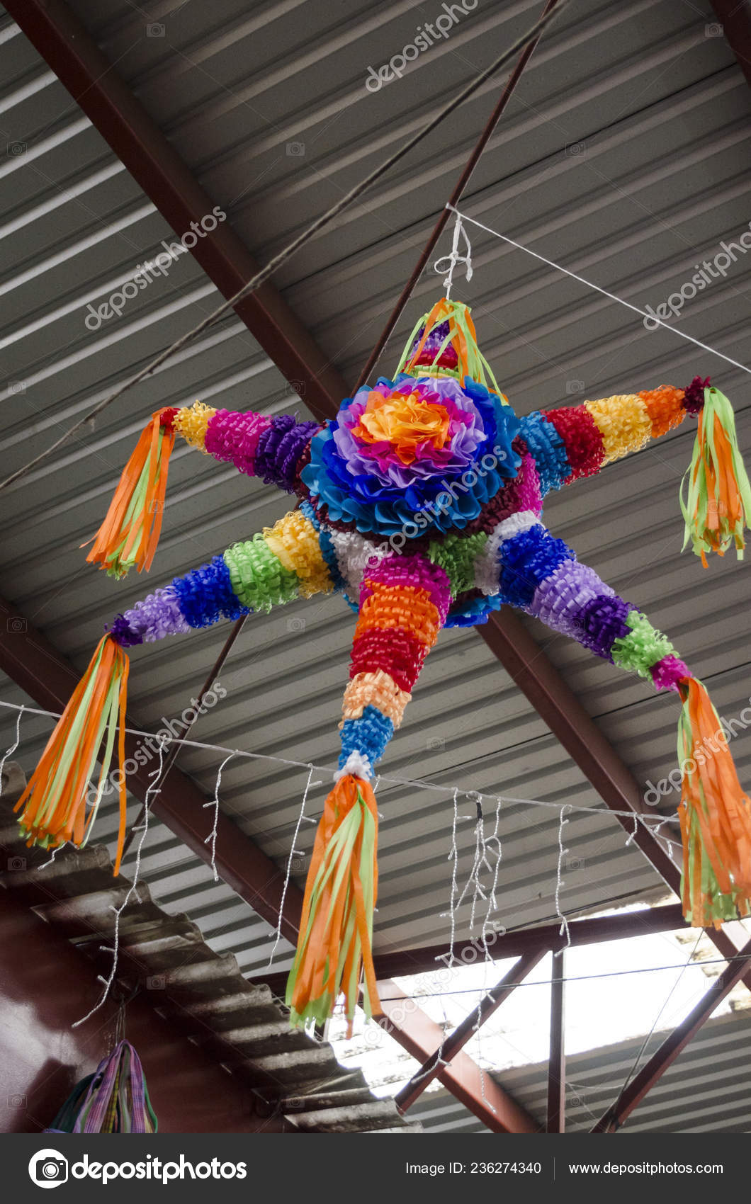 Traditional Colorful Pinata Star Shape Mexico Important Part