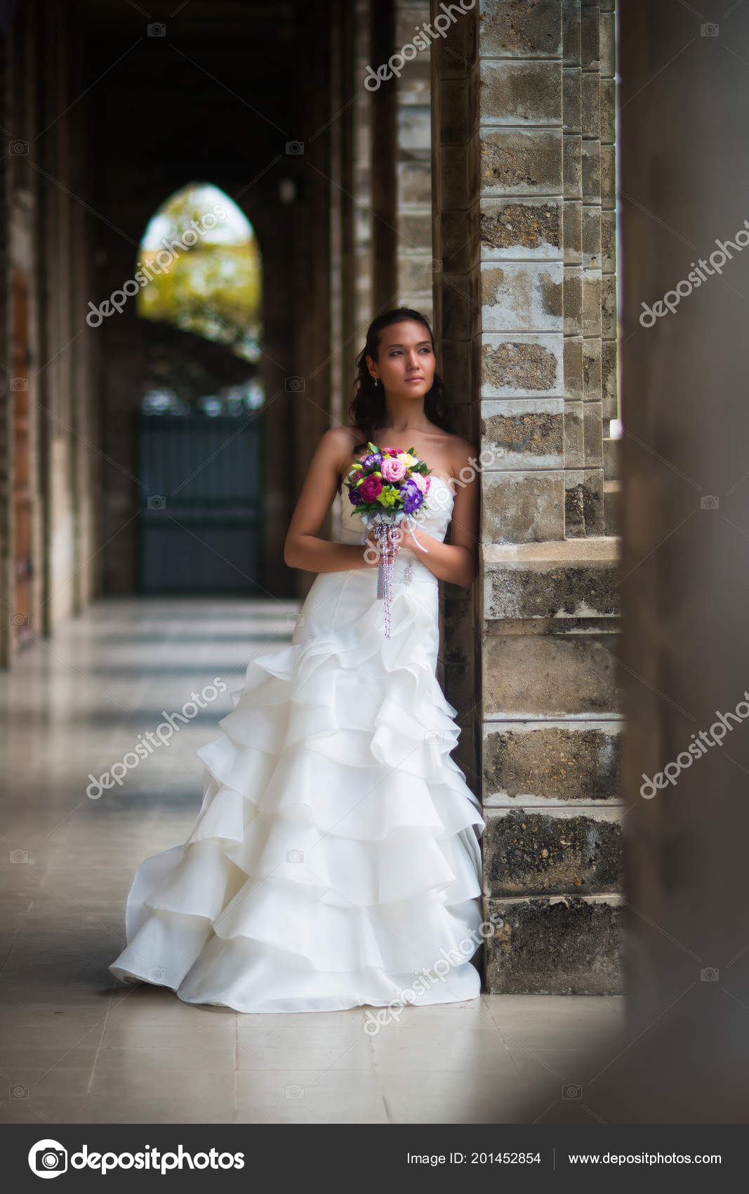 Bride Gallery Stone Walls Beautiful White Wedding Dress Bouquet Flowers Stock Photo: Beautiful Stone Wedding Dress At Websimilar.org
