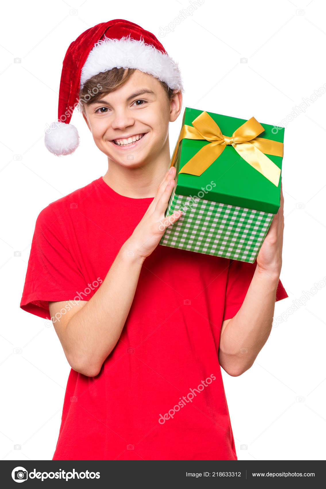 Teen Boy Christmas.Teen Boy With Christmas Hat Stock Photo C Valiza 218633312