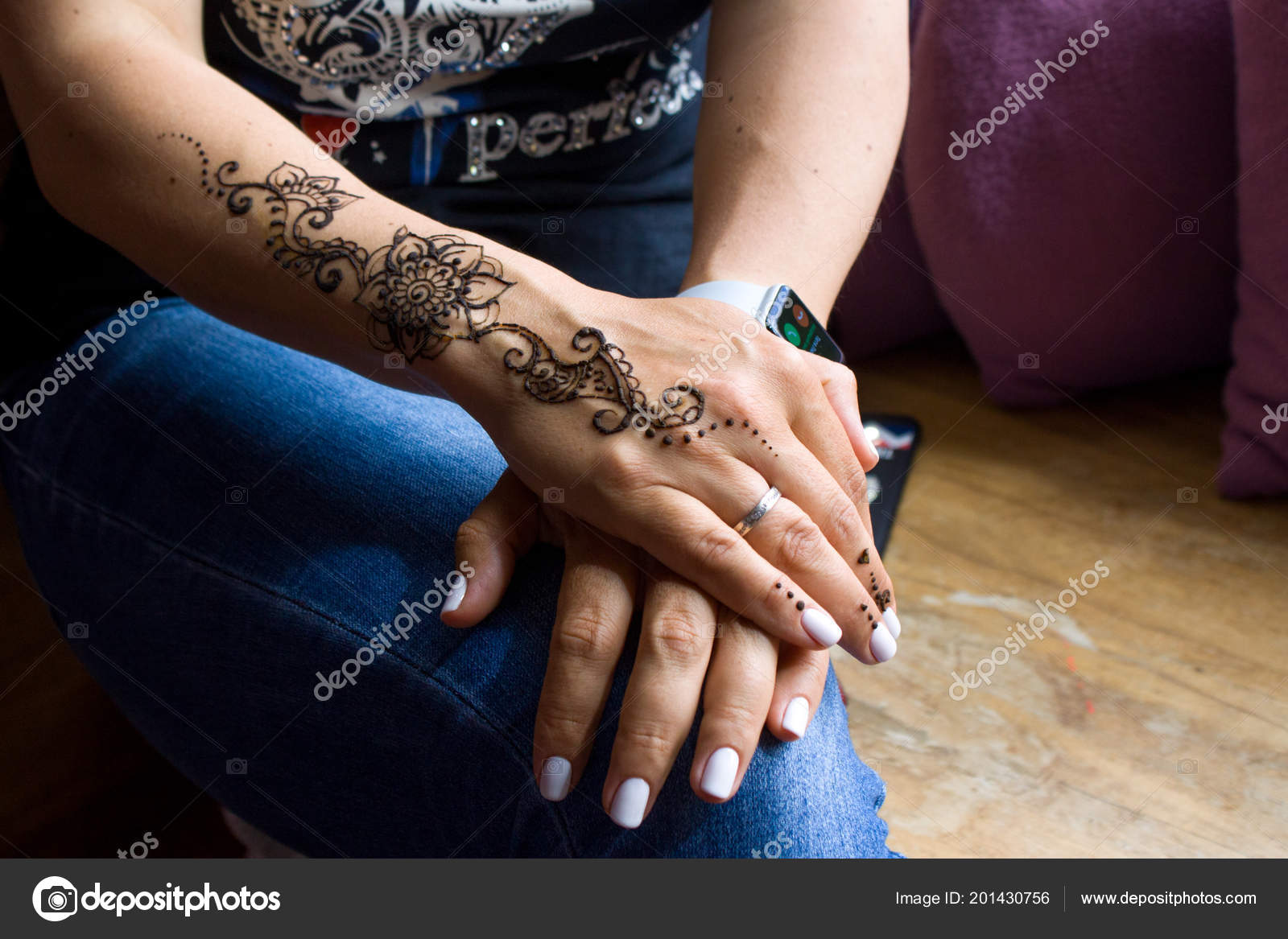 Beauty Fashion Concept Henna Tattoo Women Hands Mehndi Traditional