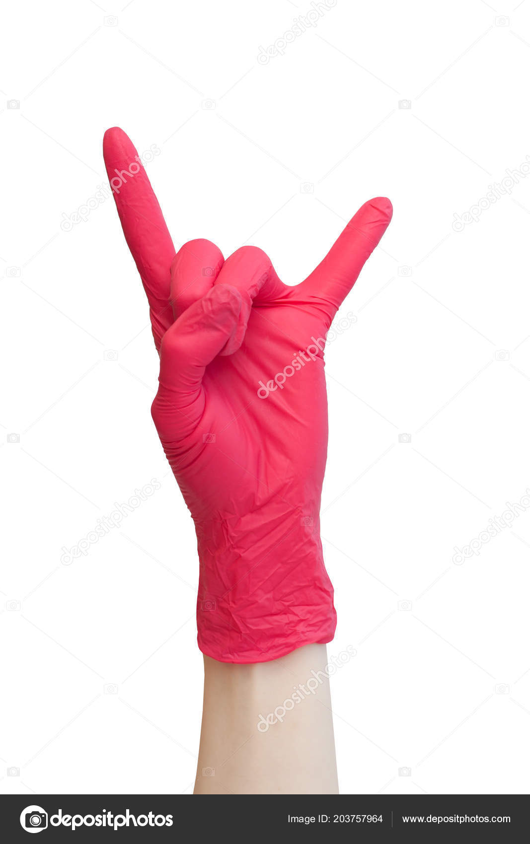 Rock Sign Made Red Medical Gloves Fingers Showing Rock Roll Stock