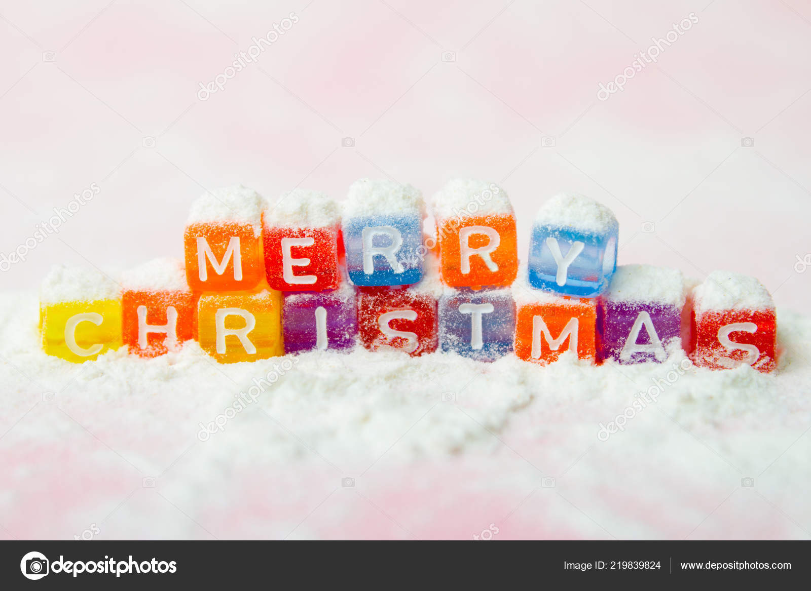 Words Merry Christmas Made Colorful Letters Blocks White Snow ...