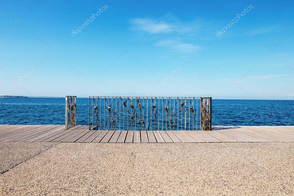Love locks hanging on railing at Thessaloniki, Greece
