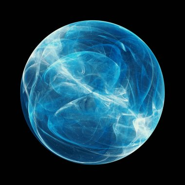Blue glowing energy sphere with force field, isolated on black, computer generated abstract background