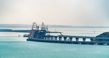 View of the Crimean Bridge with the road part finished and the railway part under construction