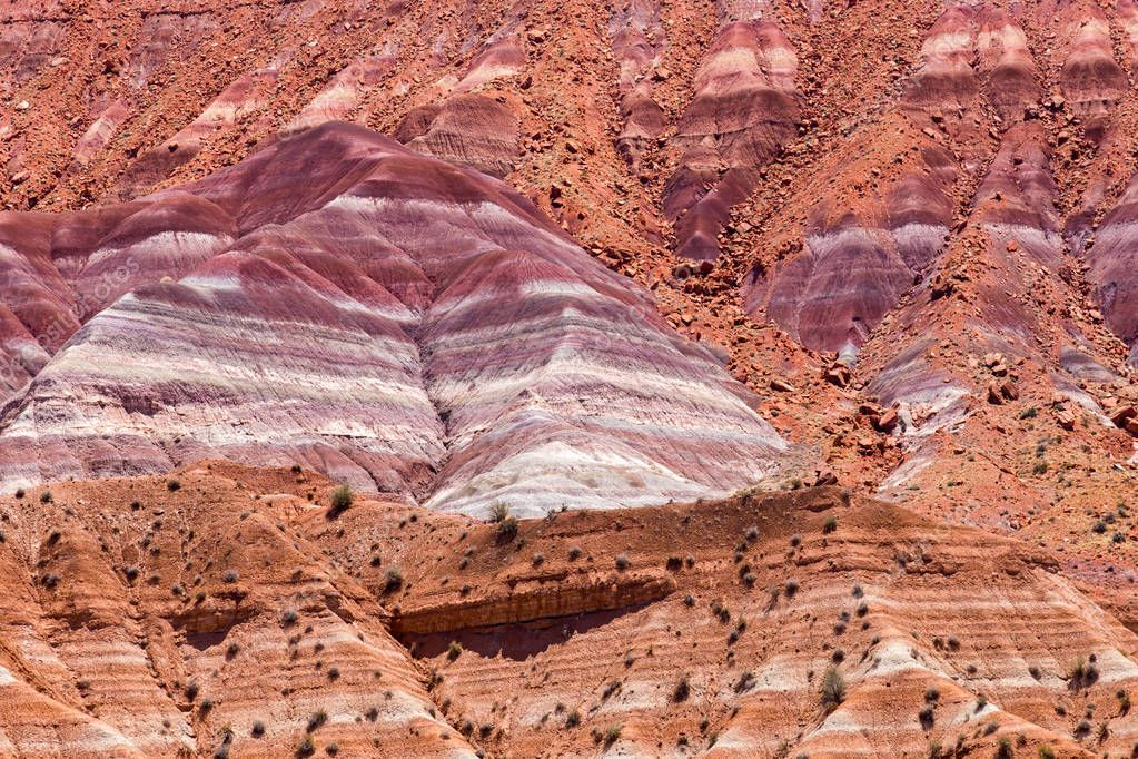 The Vermilion Cliffs  near Paria ,are steep eroded escarpments consisting primarily of sandstone, siltstone, limestone, and shale which rise as much as 3,000 feet  above their bases. These sedimentary rocks have been deeply eroded for millions of yea