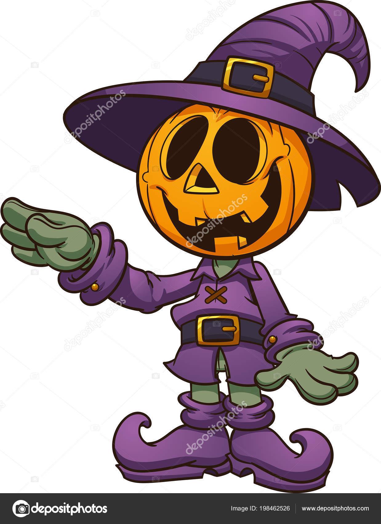 Happy Cartoon Halloween Jack Lantern Character Vector Clip