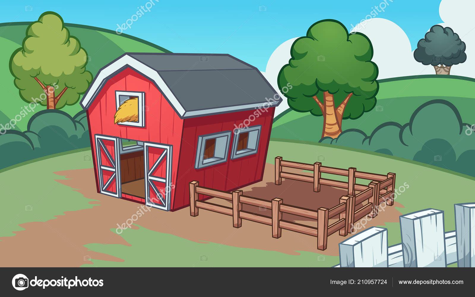 cartoon farm barn background vector clip art illustration simple