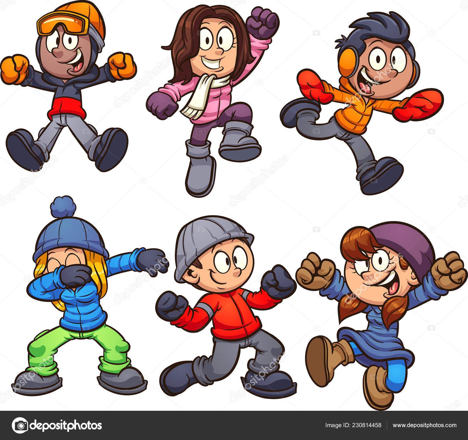 Bambini del fumetto in vestiti di inverno. Illustrazione vettoriale di  ClipArt con semplici sfumature. Ciascuno su un livello separato–  illustrazione stock 5ee66337df3