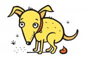 Yellow Dog shit sitting - vector illustration