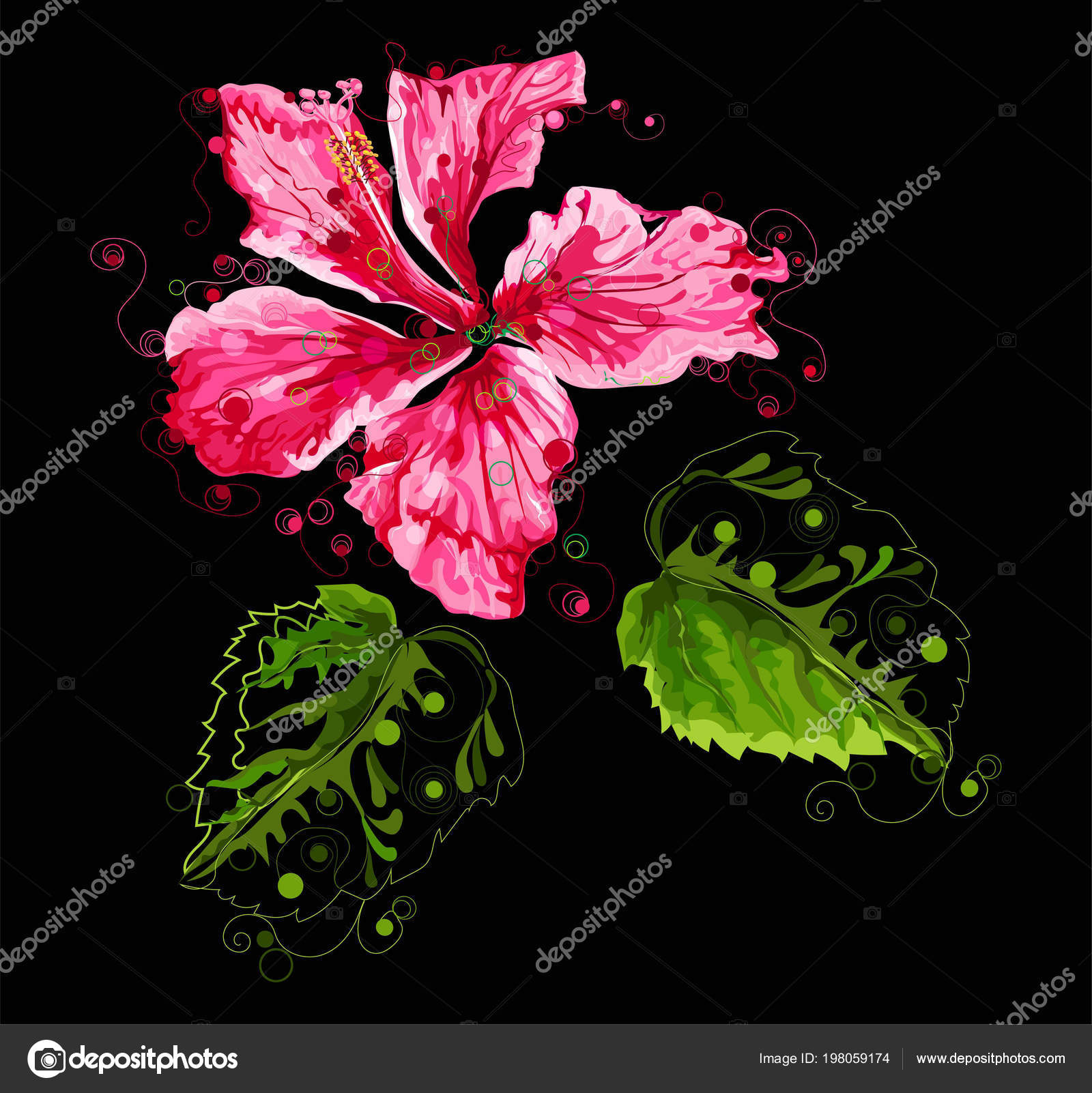 Abstract Hibiscus Flower Black Background Vector Illustration