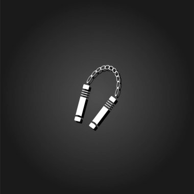 Nunchaku weapon icon flat. Simple White pictogram on black background with shadow. Vector illustration symbol