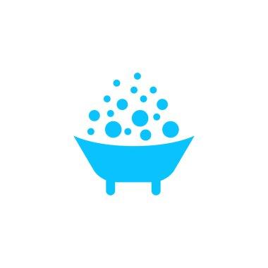 Baby bath icon flat. Blue pictogram on white background. Vector illustration symbol icon