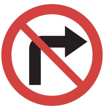 Stop Turn right Vector Icon