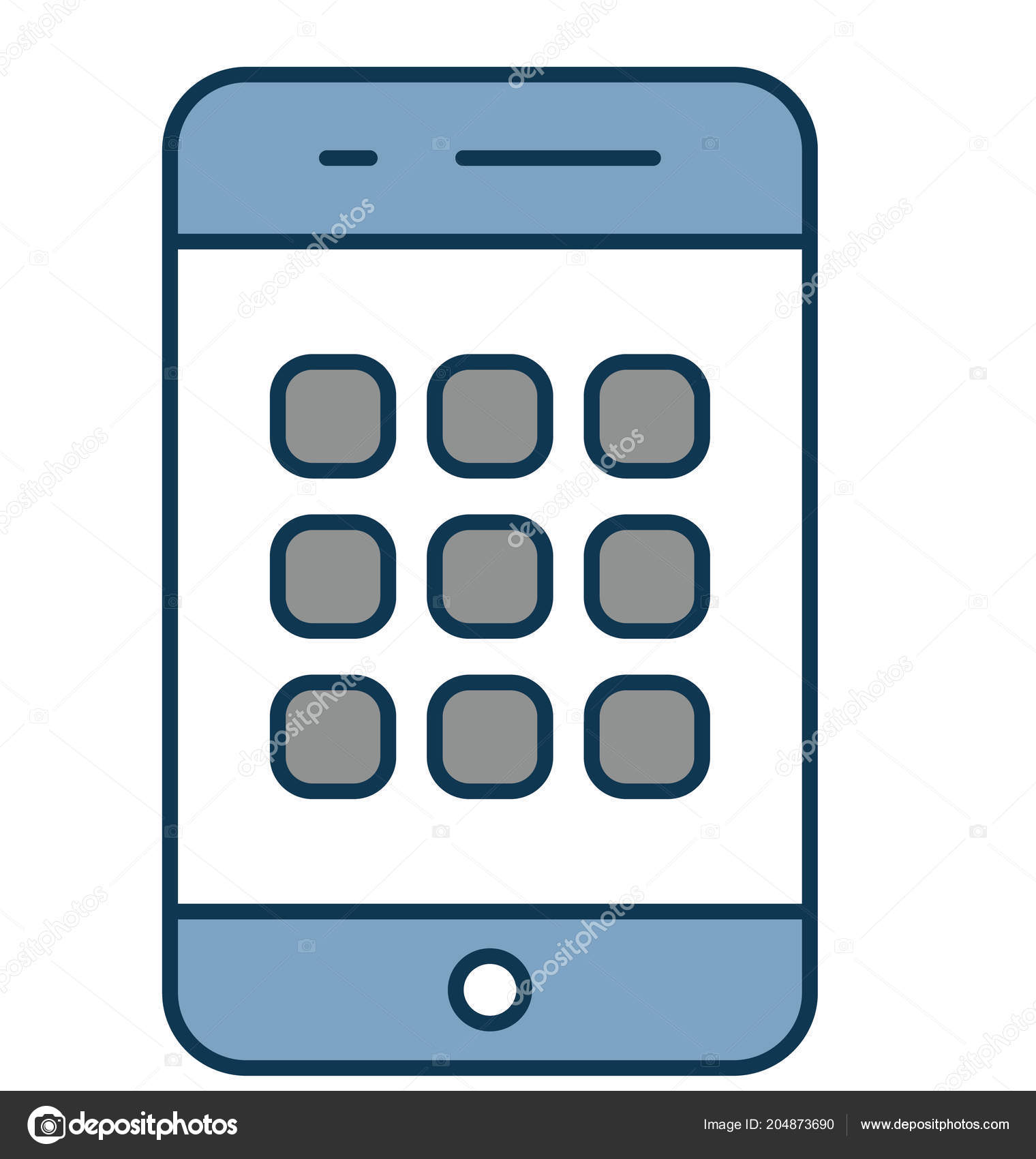 mobile menu outline isolated color vector icon fully editable
