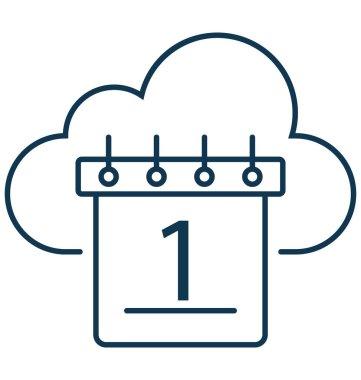 Cloud Calendar Isolated Vector Icon Editable