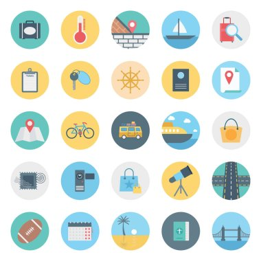 Leisure,Travel and Tour Isolated Vector Icon consist with bag, passport, sycle, road, telescope, rugby and beach,