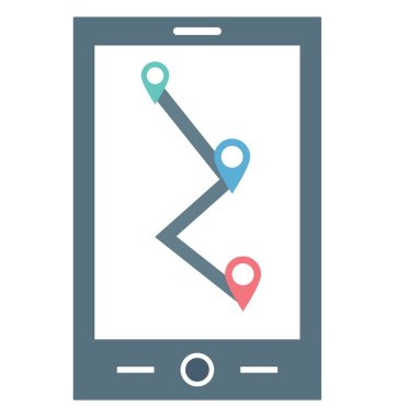 Map Device Color Illustration Vector Icon