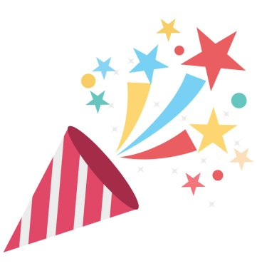 Confetti Cone Vector Isolated Vector icons that can be easily modified and edit