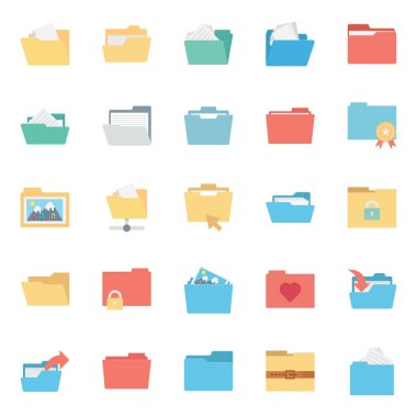 Files and Folder Isolated vector Icons Set Every Folder or files Icons Can be easily Color modified or edited in any style or Color