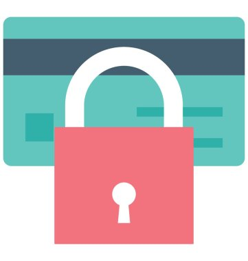 Card Locked Color Icon isolated and Vector that can be easily modified or edit