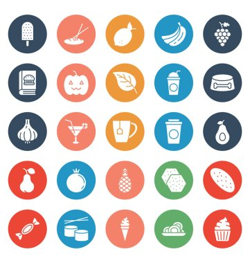 Food, Drinks, Fruits, Vegetables Vector Icons set That can be easily modified or edit