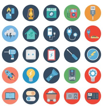 Power and Energy Isolated Vector Icons Set that can be easily modified or edit